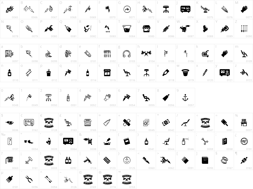 Tattoo Pro Icons Character Map