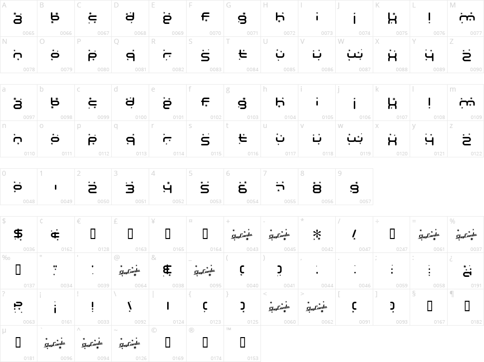 Technodelight Character Map