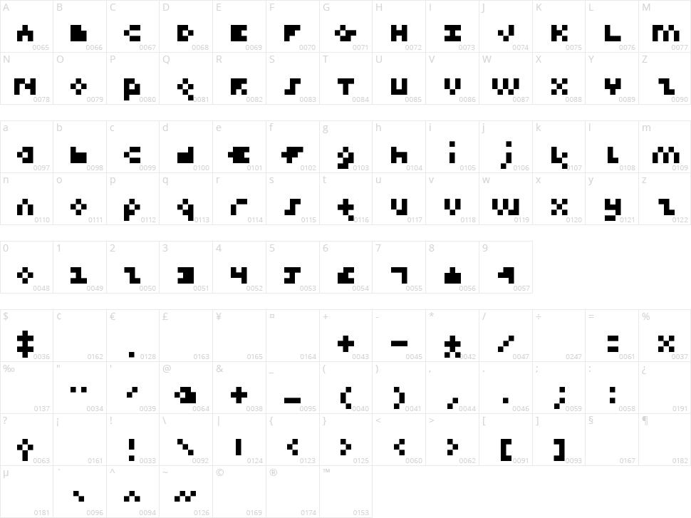 Teeny Pix Character Map