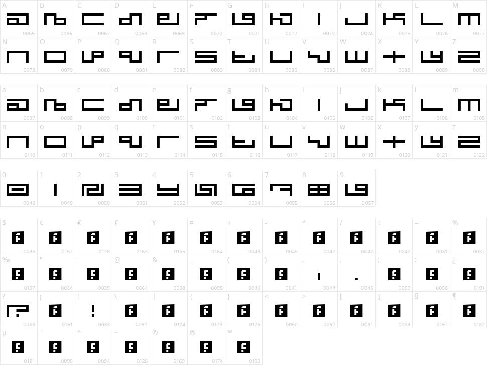 Tegma Character Map