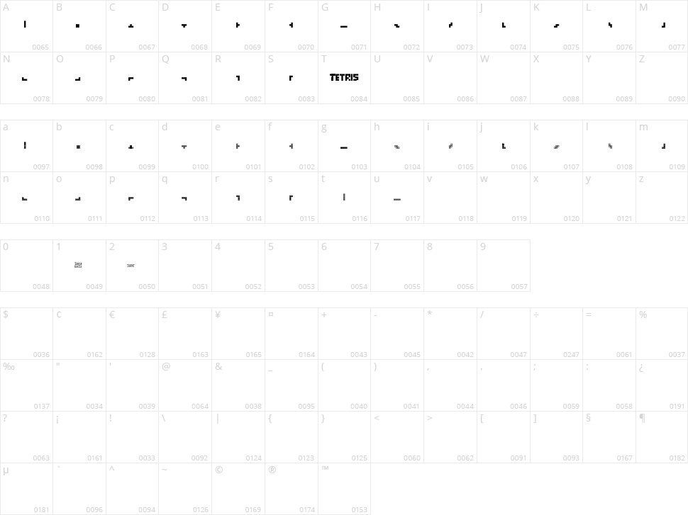 Tetris Blocks Character Map