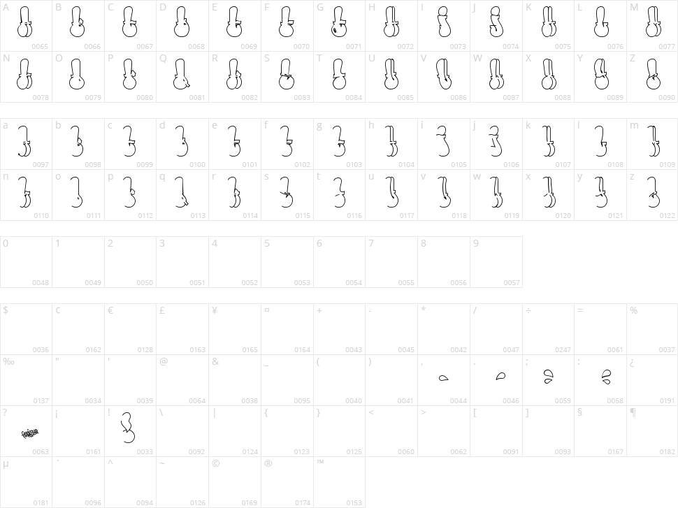 Throw-up Font Character Map