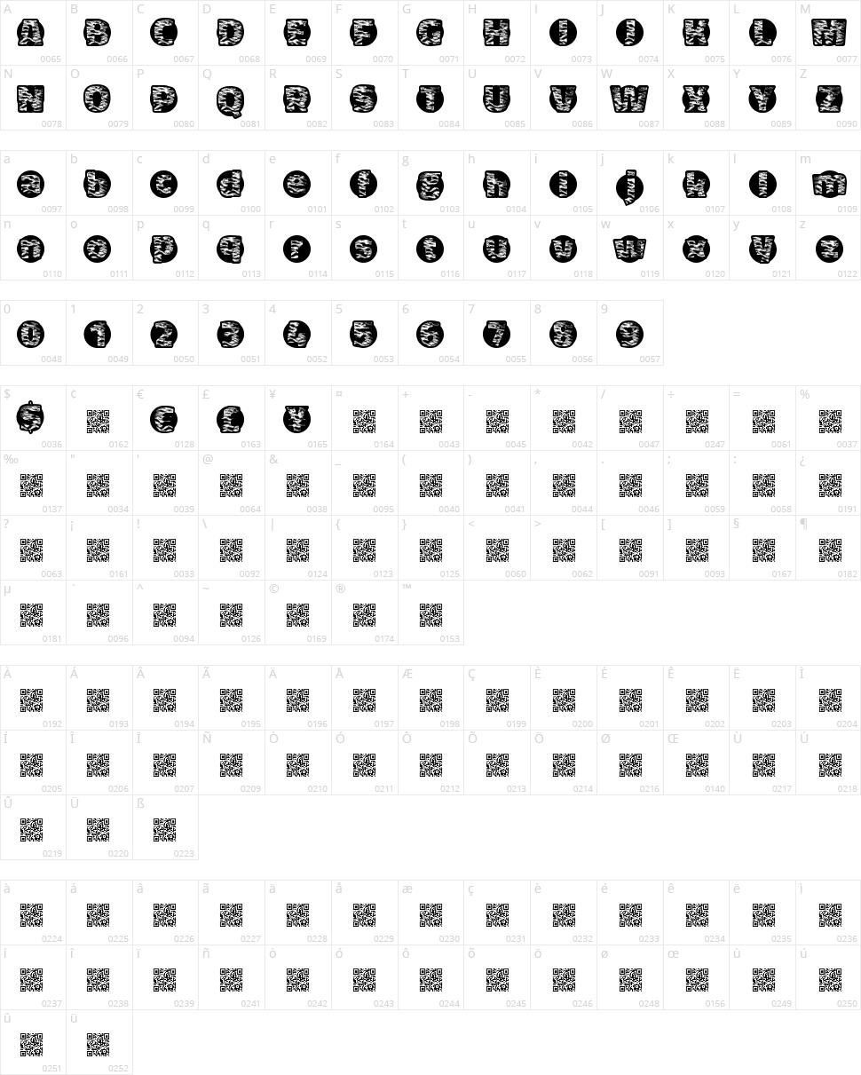 Tiger Bawl Character Map