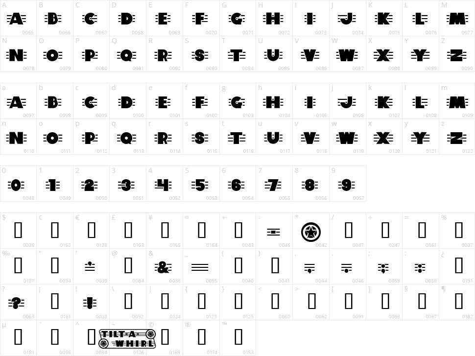 Tilt A Whirl Character Map