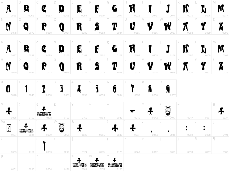 Transilvania Character Map