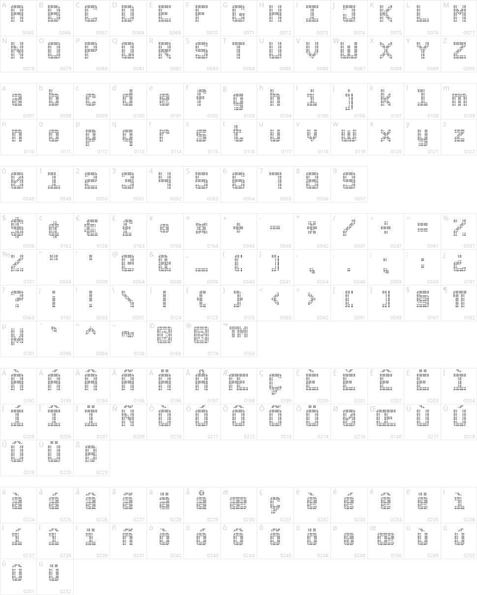 Triple Dot Digital-7 Character Map