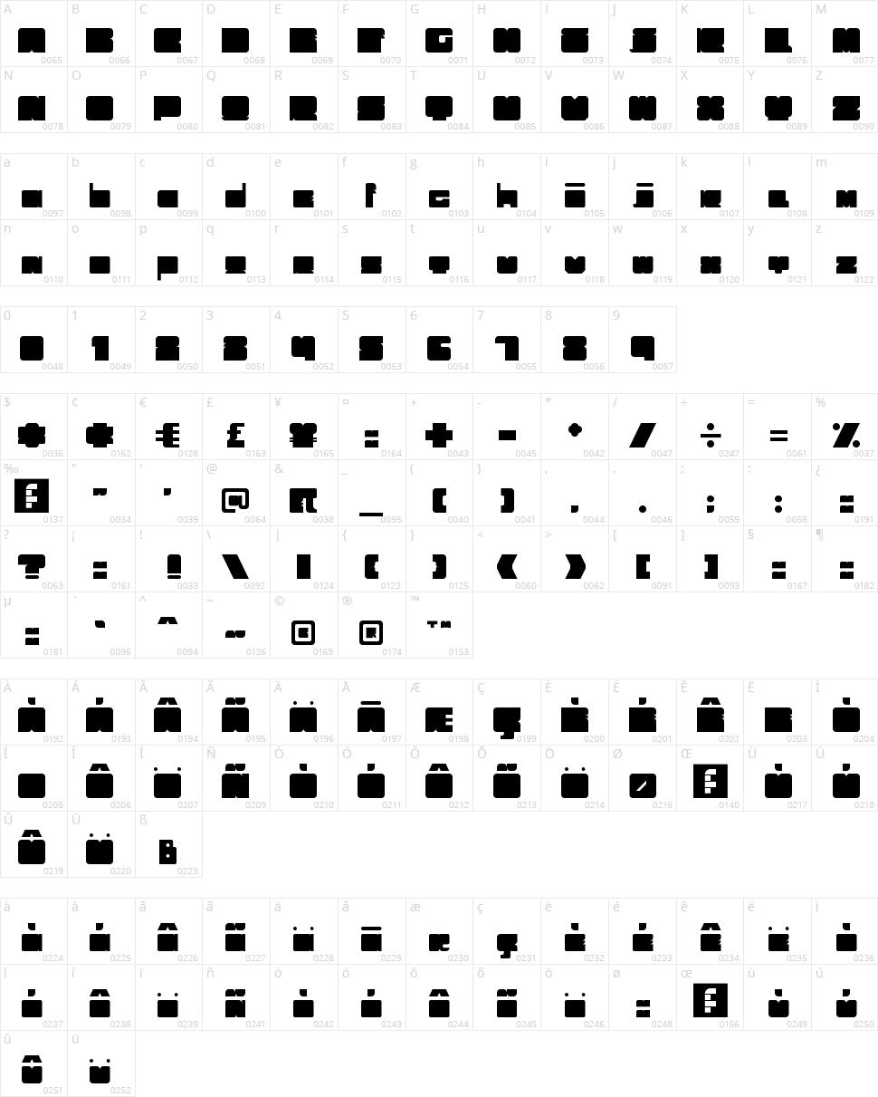 Trubik 77 Character Map