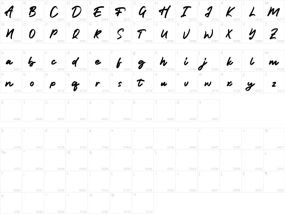 Tumbrella Script Character Map