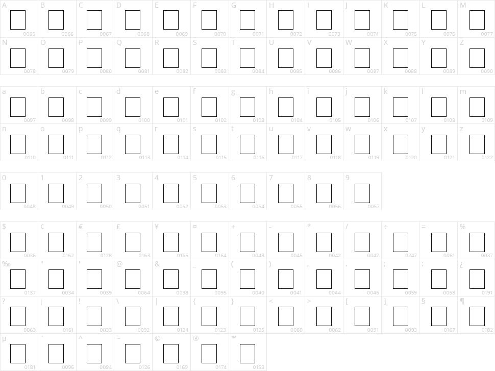 Tweedy Ver.02.01 Character Map