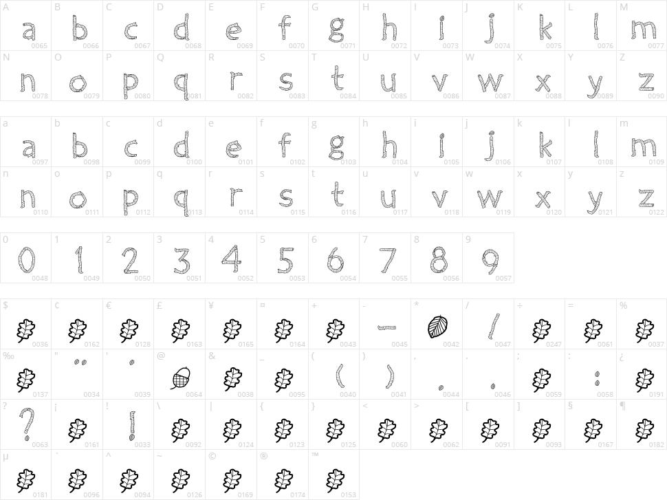 Twiggy Character Map
