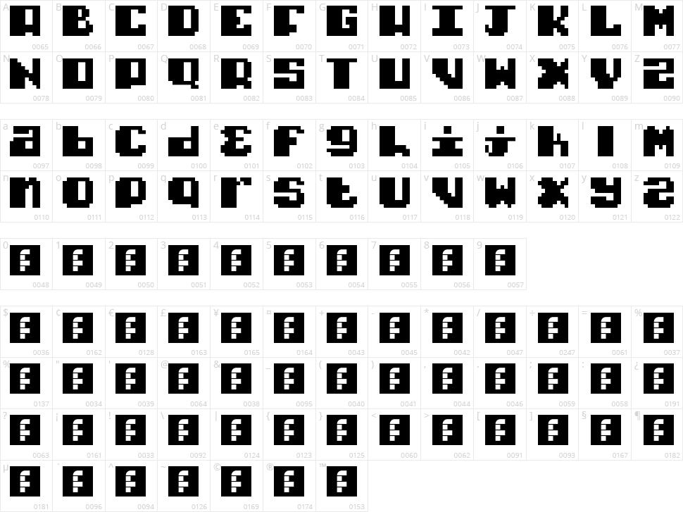 Typo Pixel Character Map