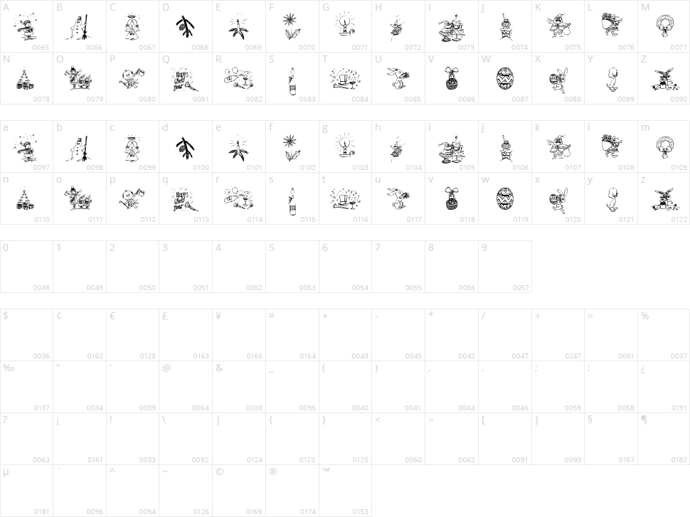 Typographers Holidayfont Character Map
