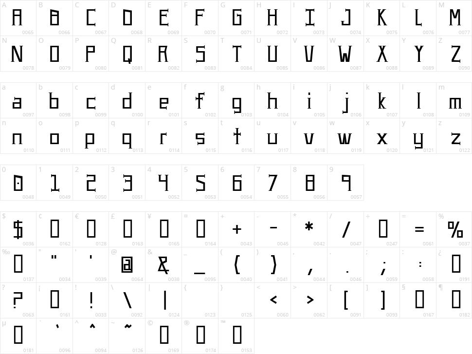 UA Serifed Character Map