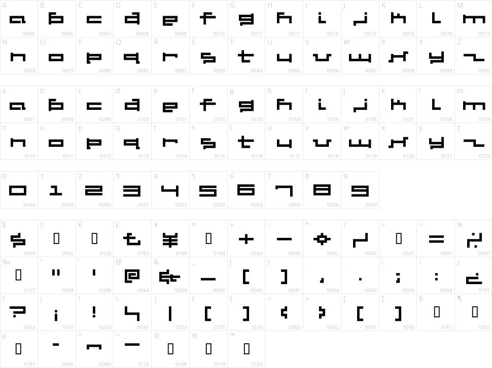 V5 Cuadra2 Character Map