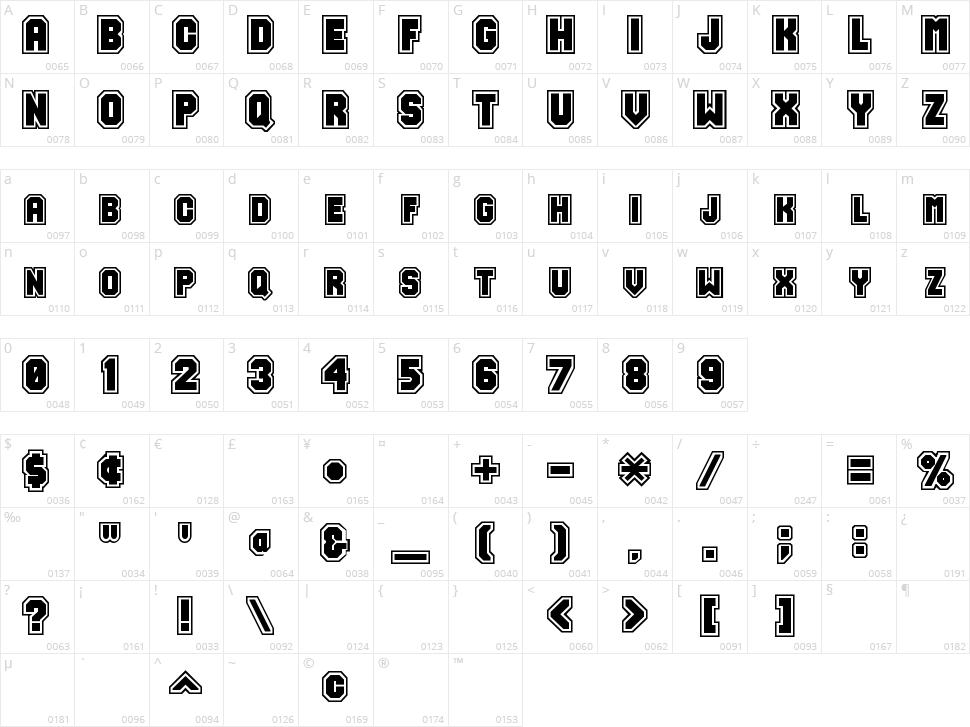 Varsity Character Map