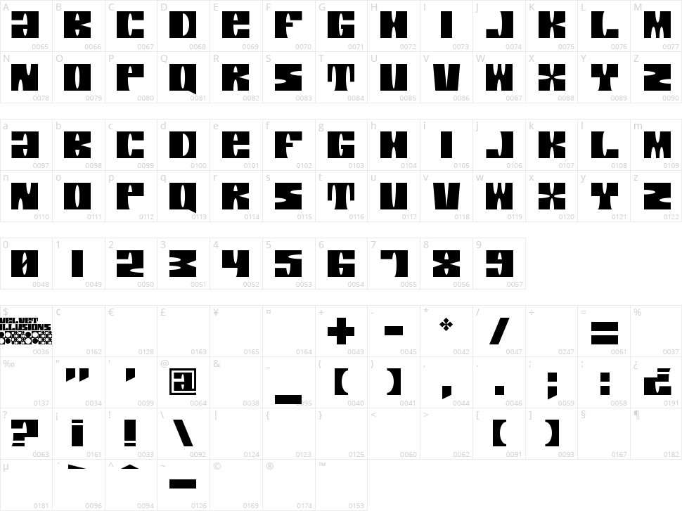 Velvet Illusions Character Map