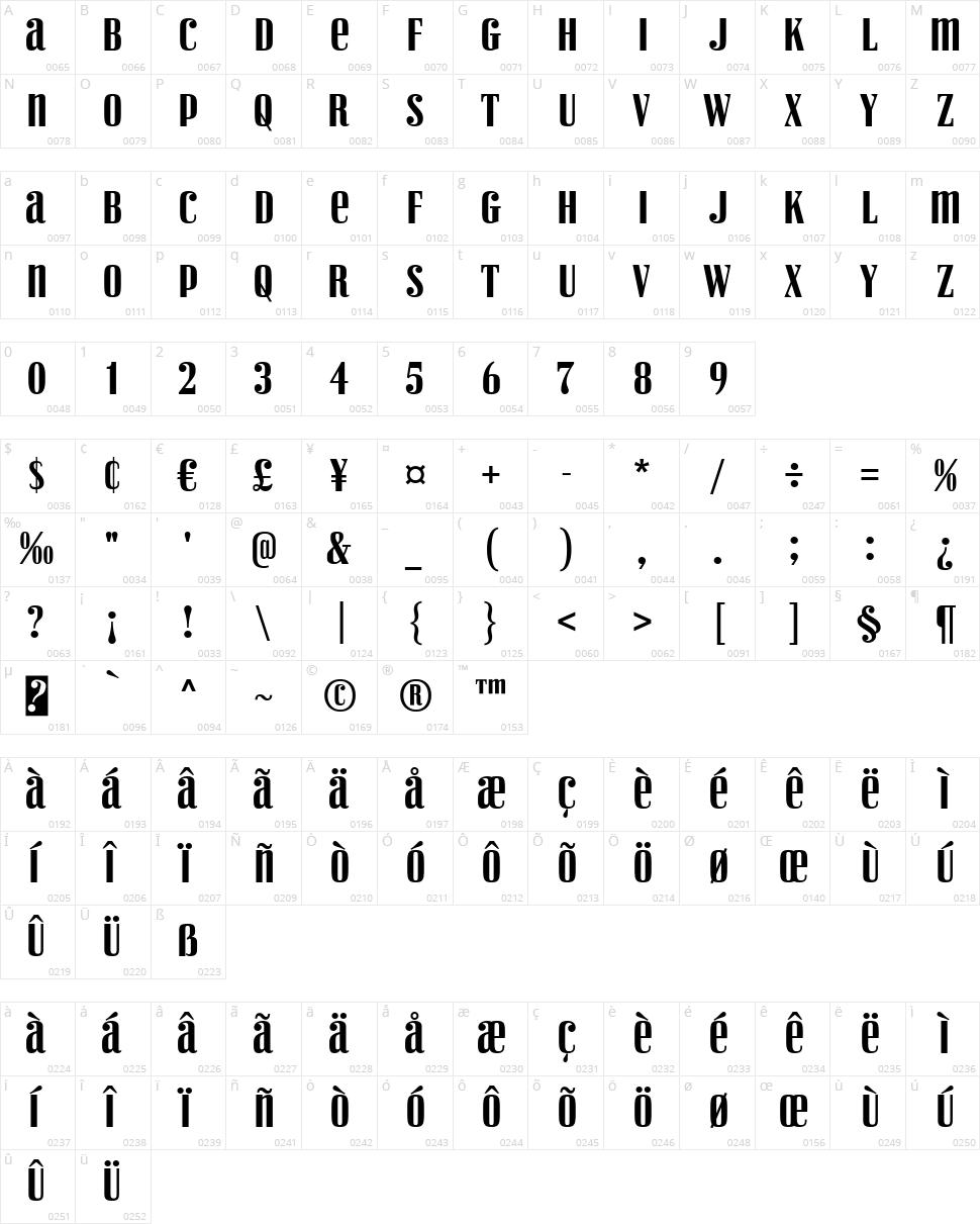 Vexler Slip Character Map