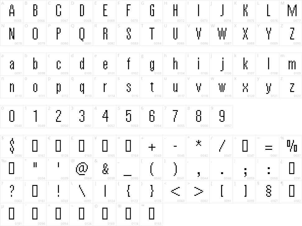 Vierzehn Character Map
