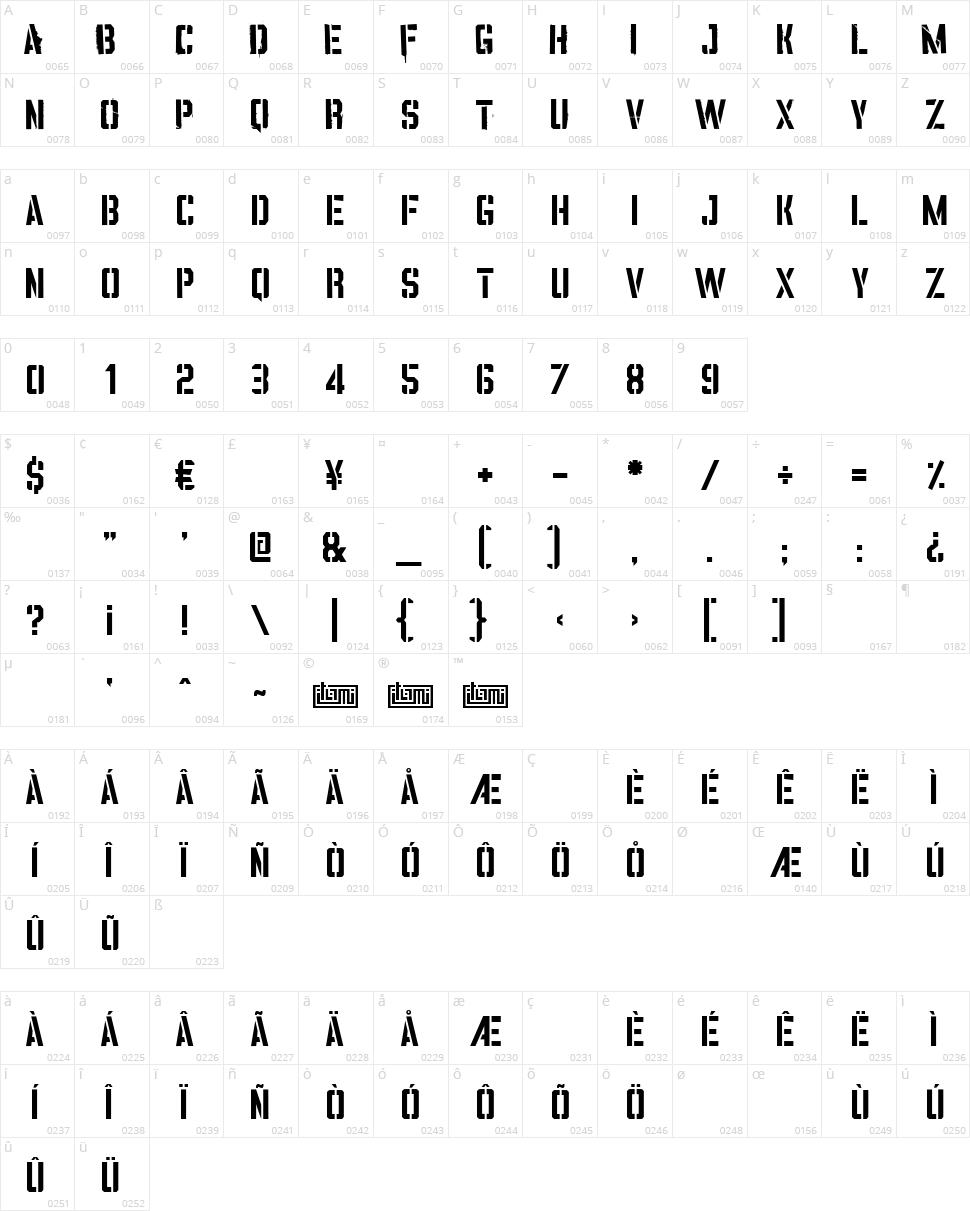 Vinca Stencil Character Map