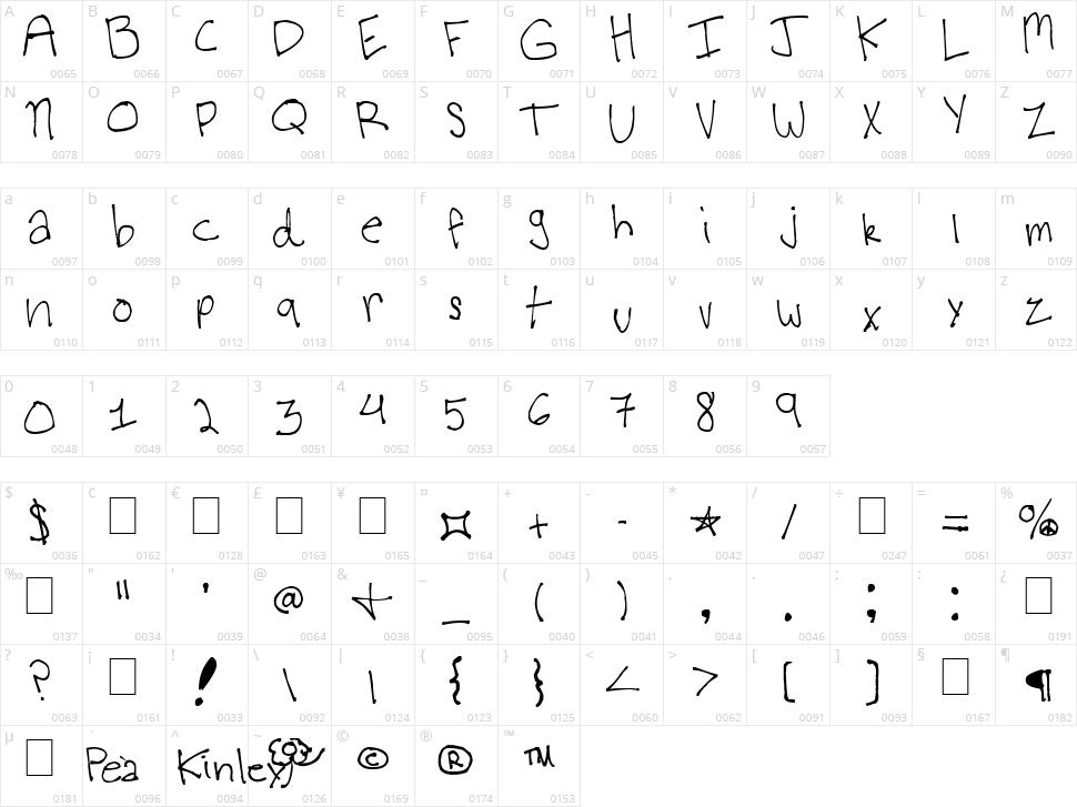 Virginia's Kool Font Character Map