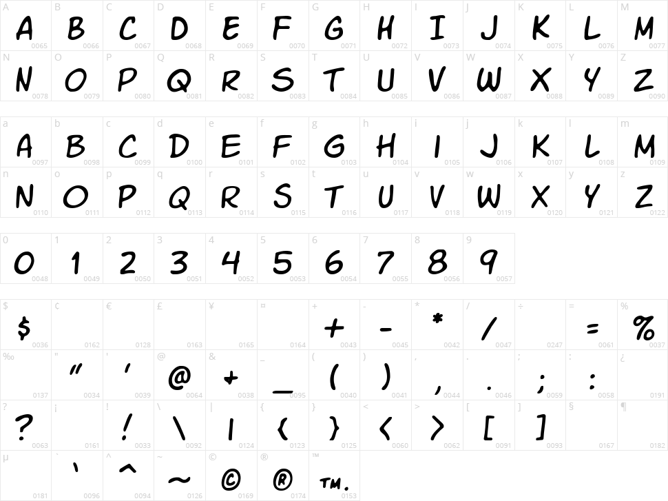 VTC Letterer Pro Character Map
