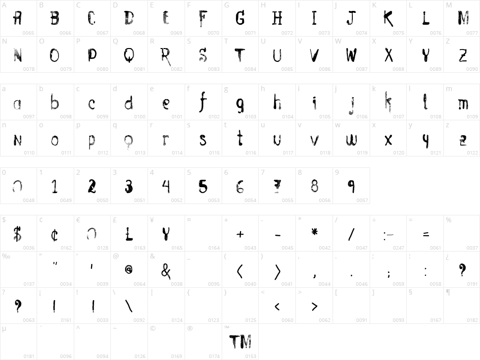Vtks Entulho Character Map