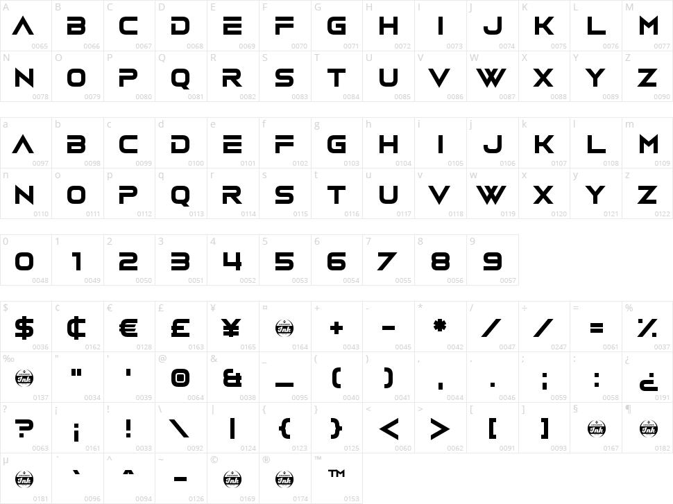 Vudotronic Character Map