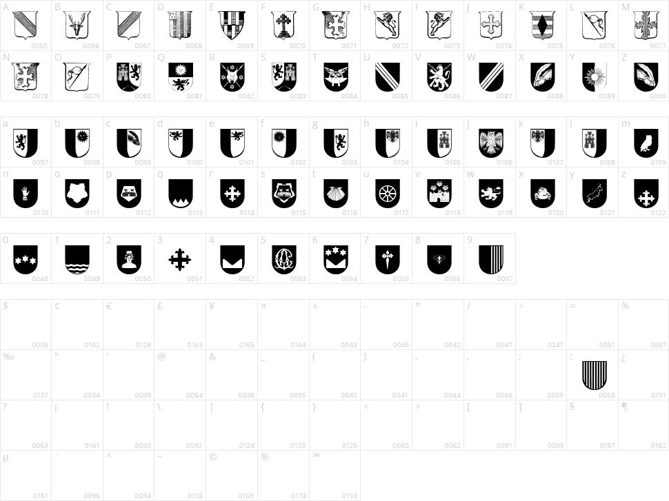 Wappen Character Map