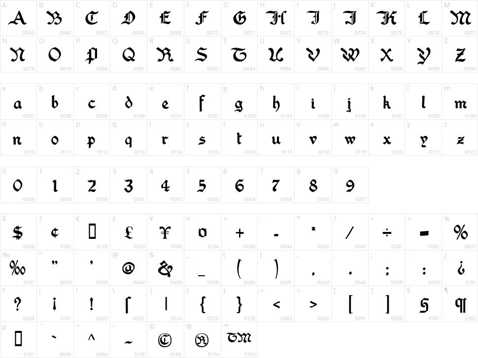 Washington Text Character Map