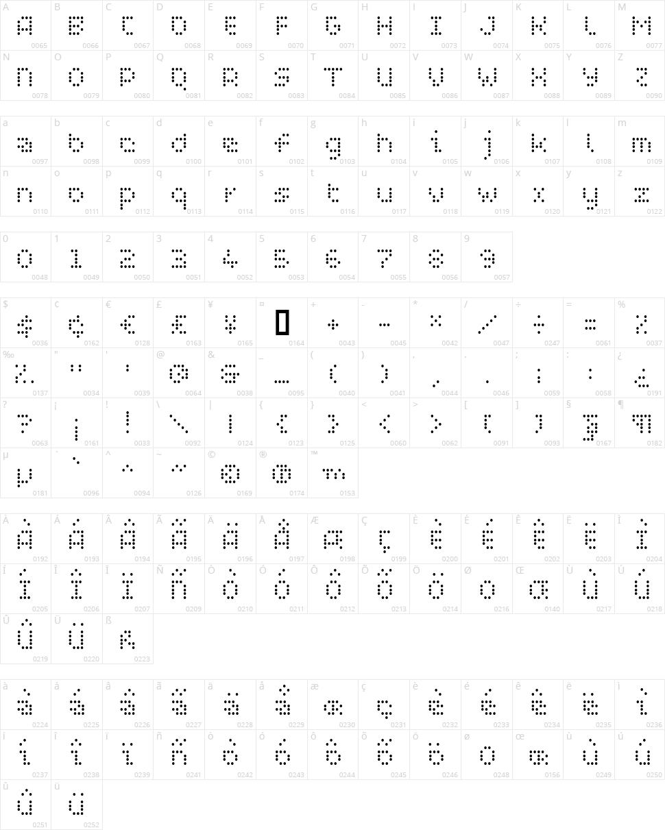 WC Pixhole Light Bta Character Map