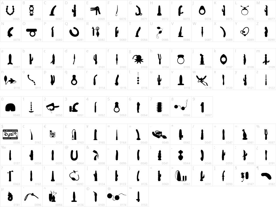 WC Zyzi Bta Character Map