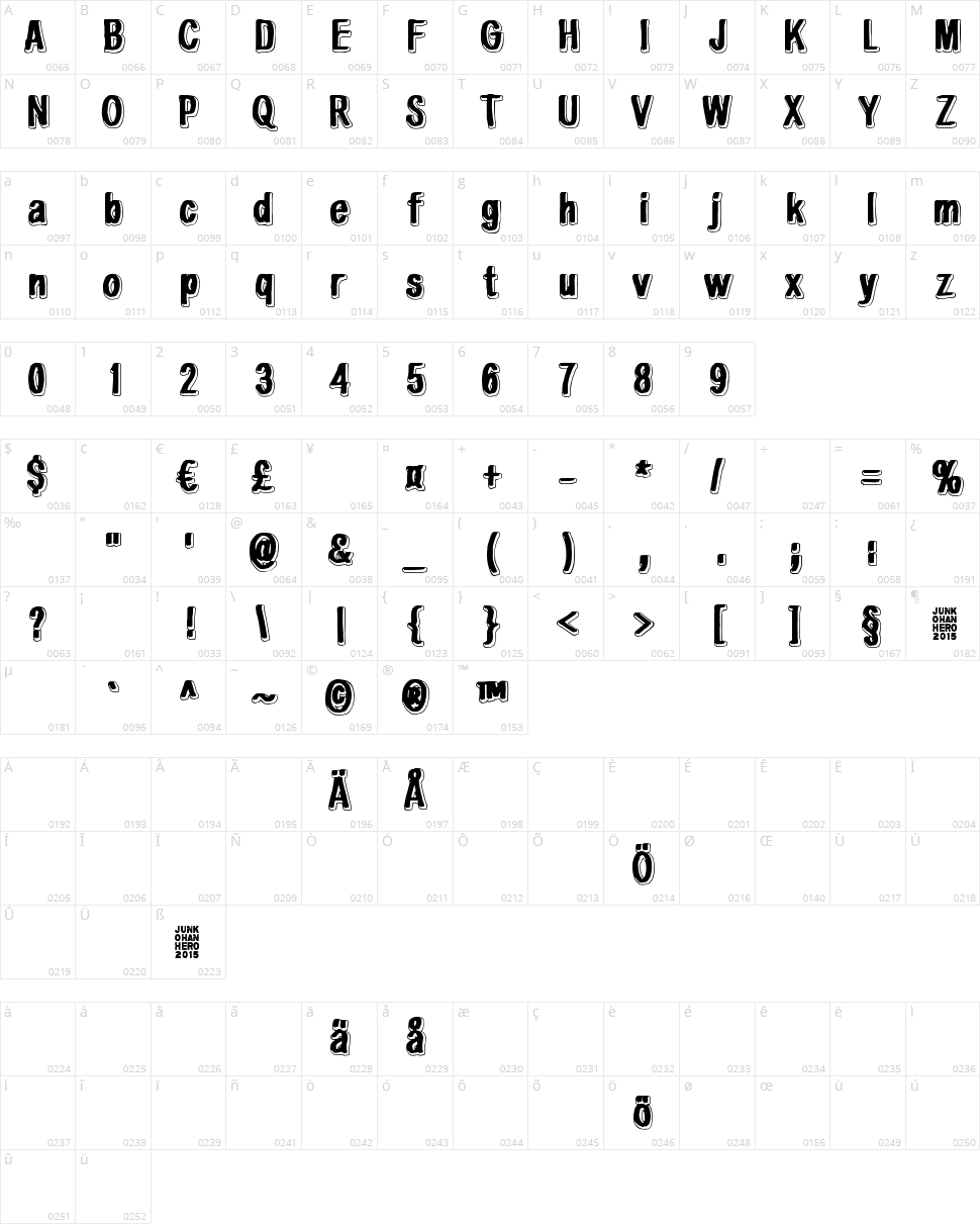 White light, black line Character Map