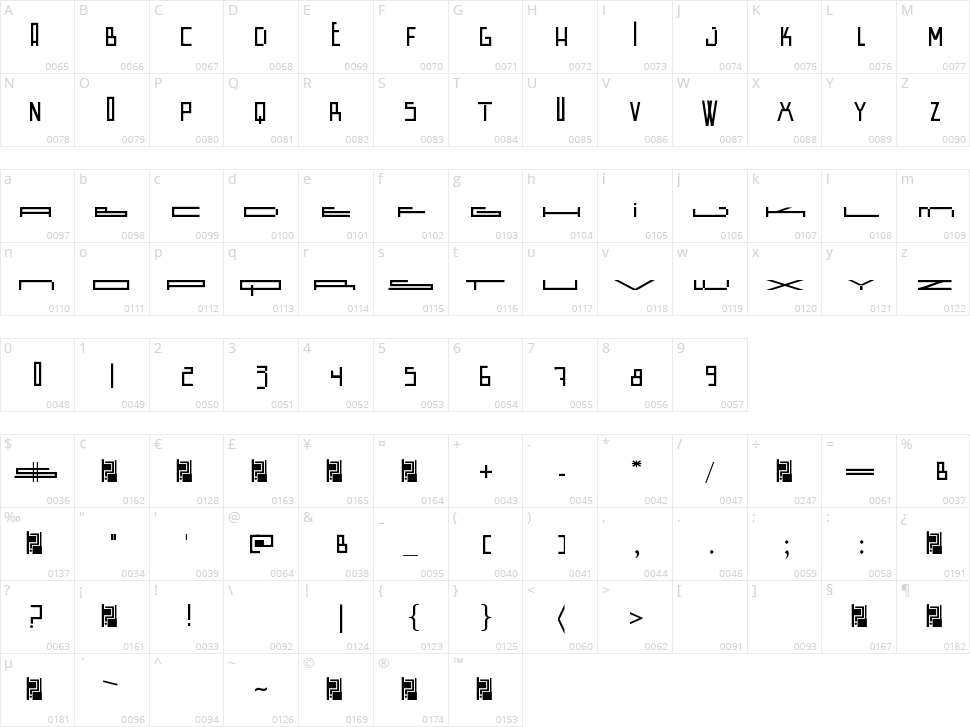Wide Square Character Map