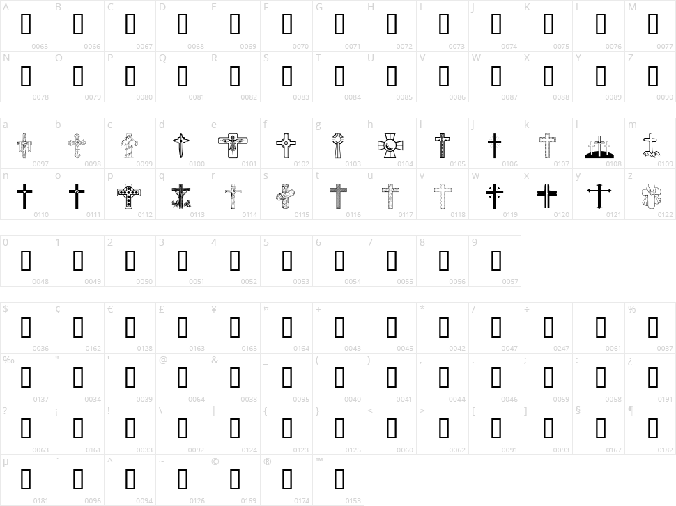 WM Crosses 1 Character Map