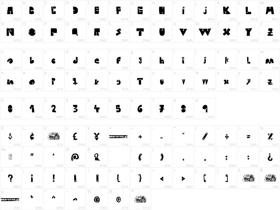 Woodcutter Cross Character Map
