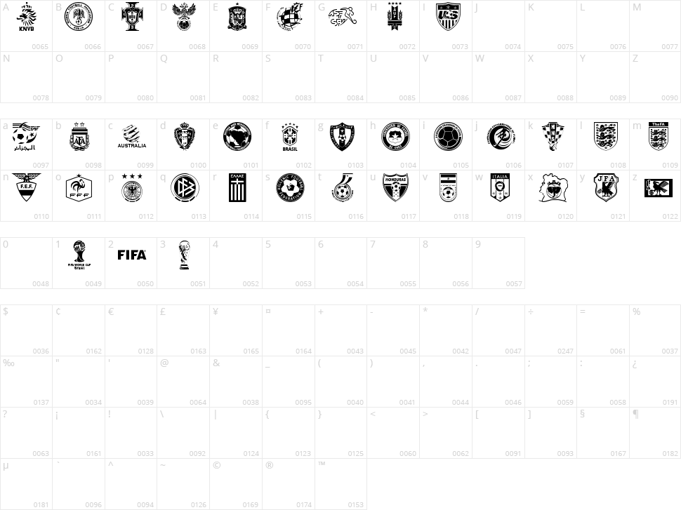 World C'p 2k14 Character Map