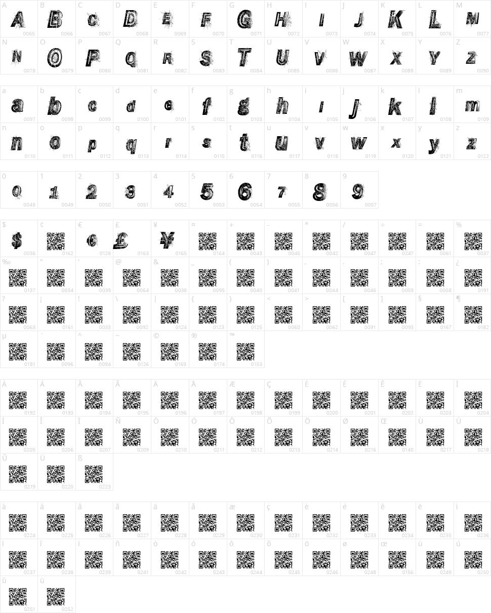 Wrecking Bawl Character Map