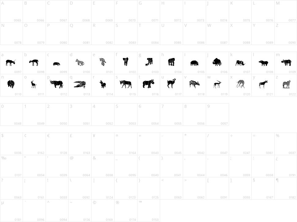 WW Safari Character Map