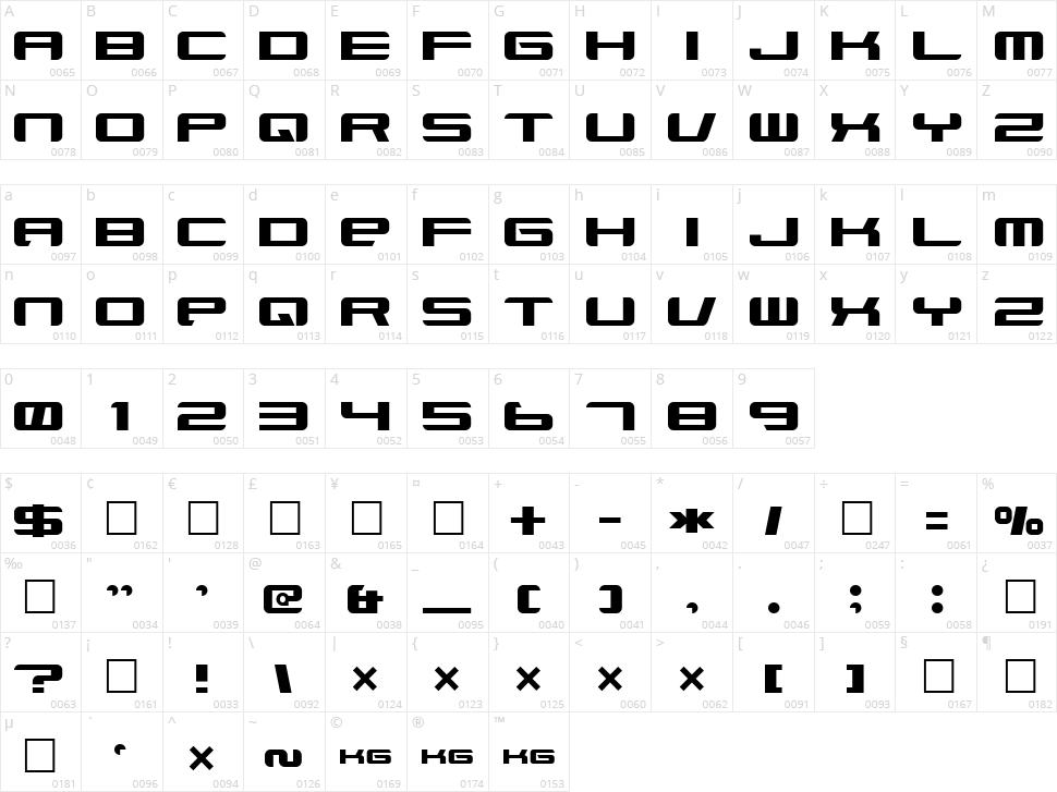 Xenotron Broadstroke Character Map