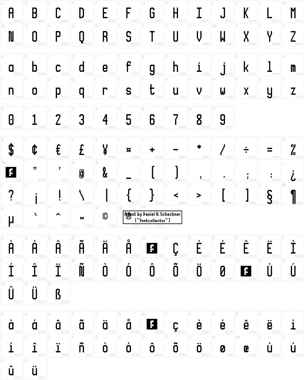 XLMonoAlt Character Map