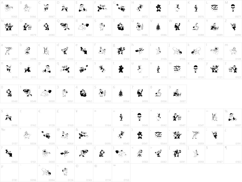 Xmas Batzz Character Map