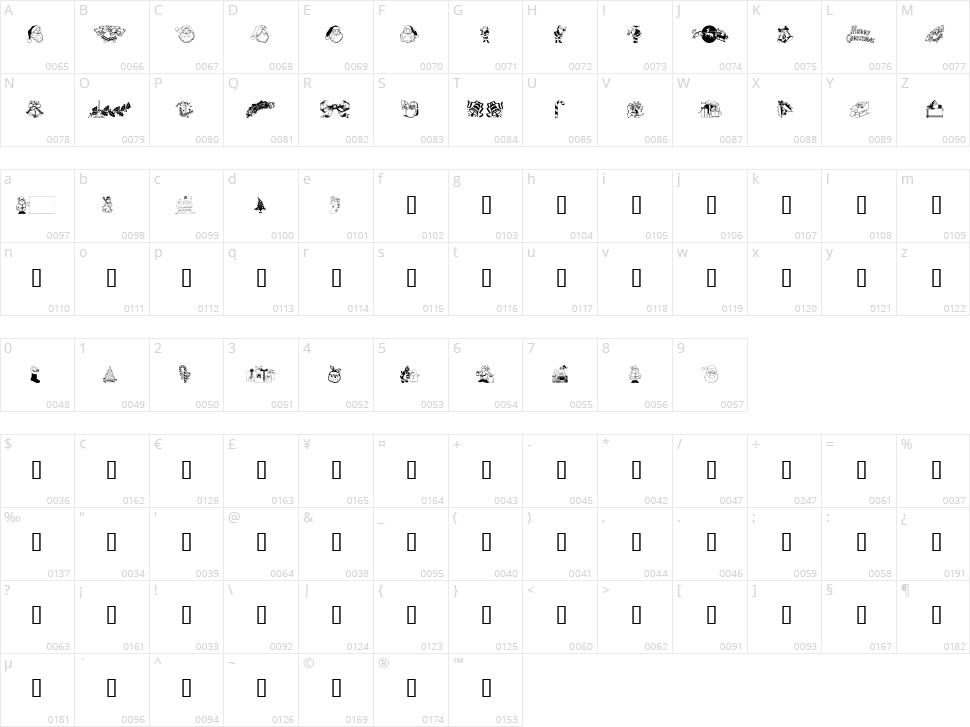 Xmas Clipart Character Map