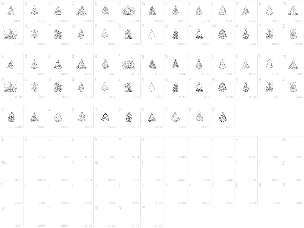 Xmas Tree Character Map