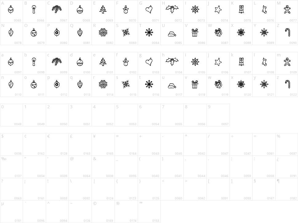 Xmasbats St Character Map
