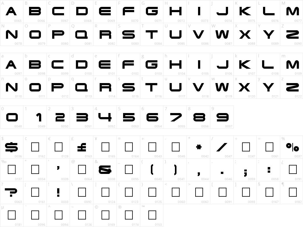 Xoireqe Character Map
