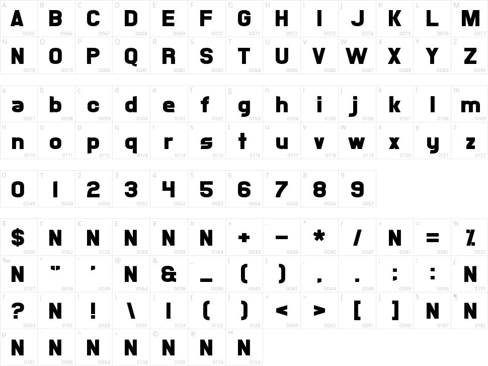Xsotik Character Map