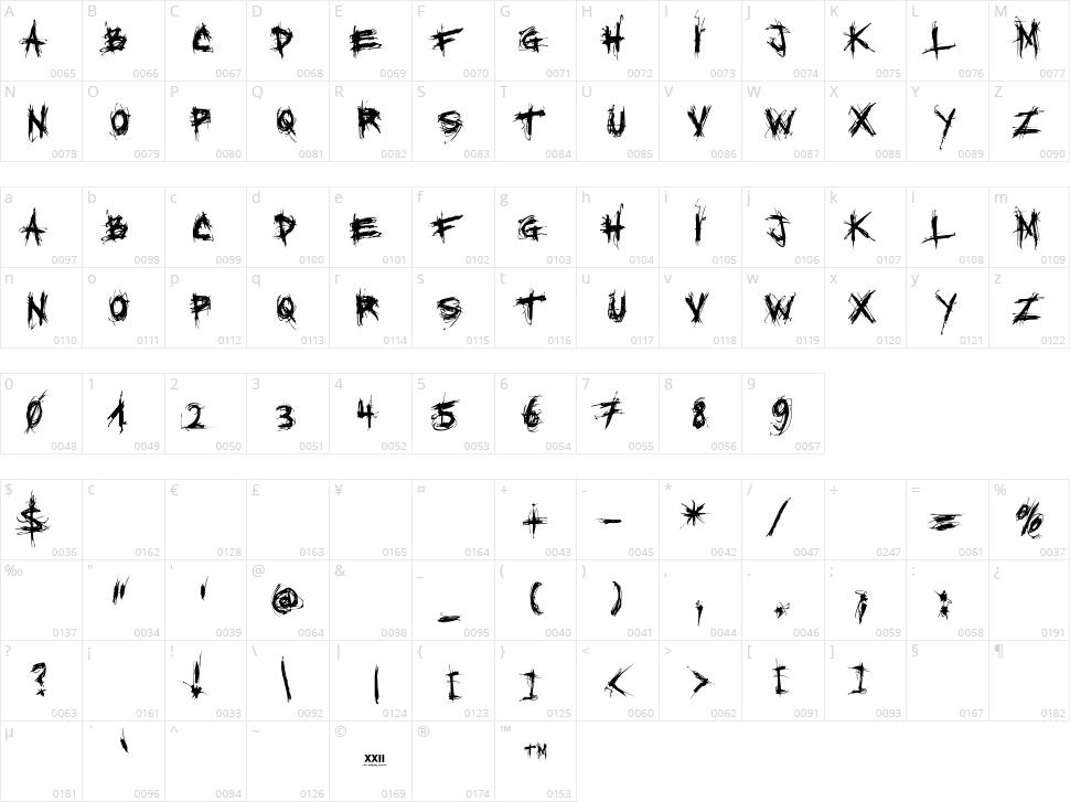 XXII Scratch Character Map