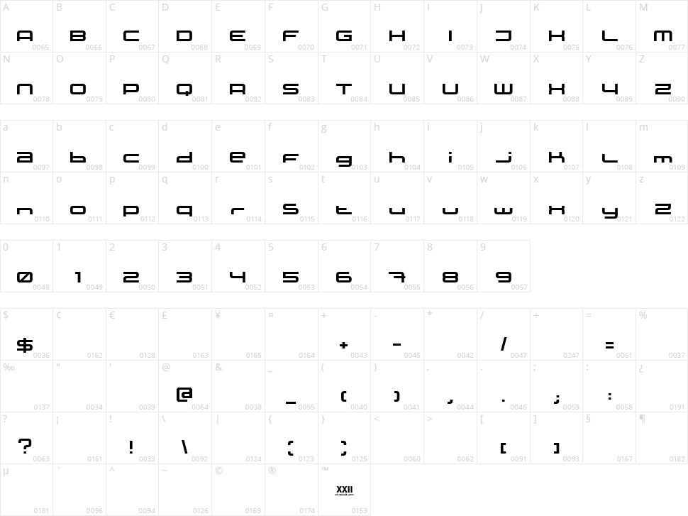XXII Static Character Map