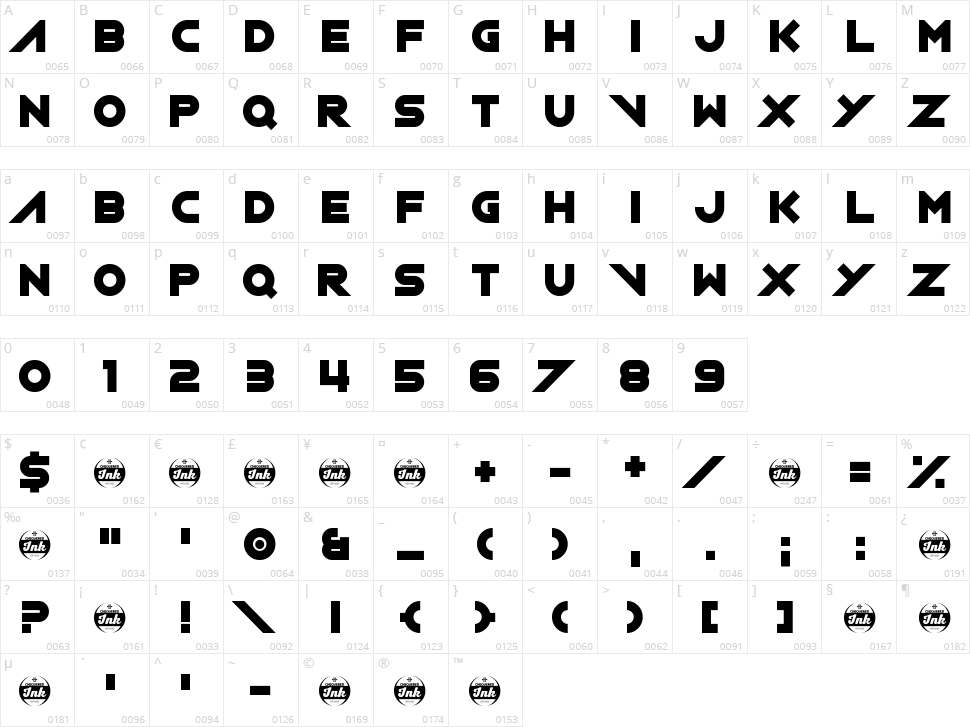 XXIX Character Map
