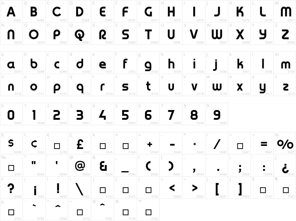 YagiUhfNo2 Character Map